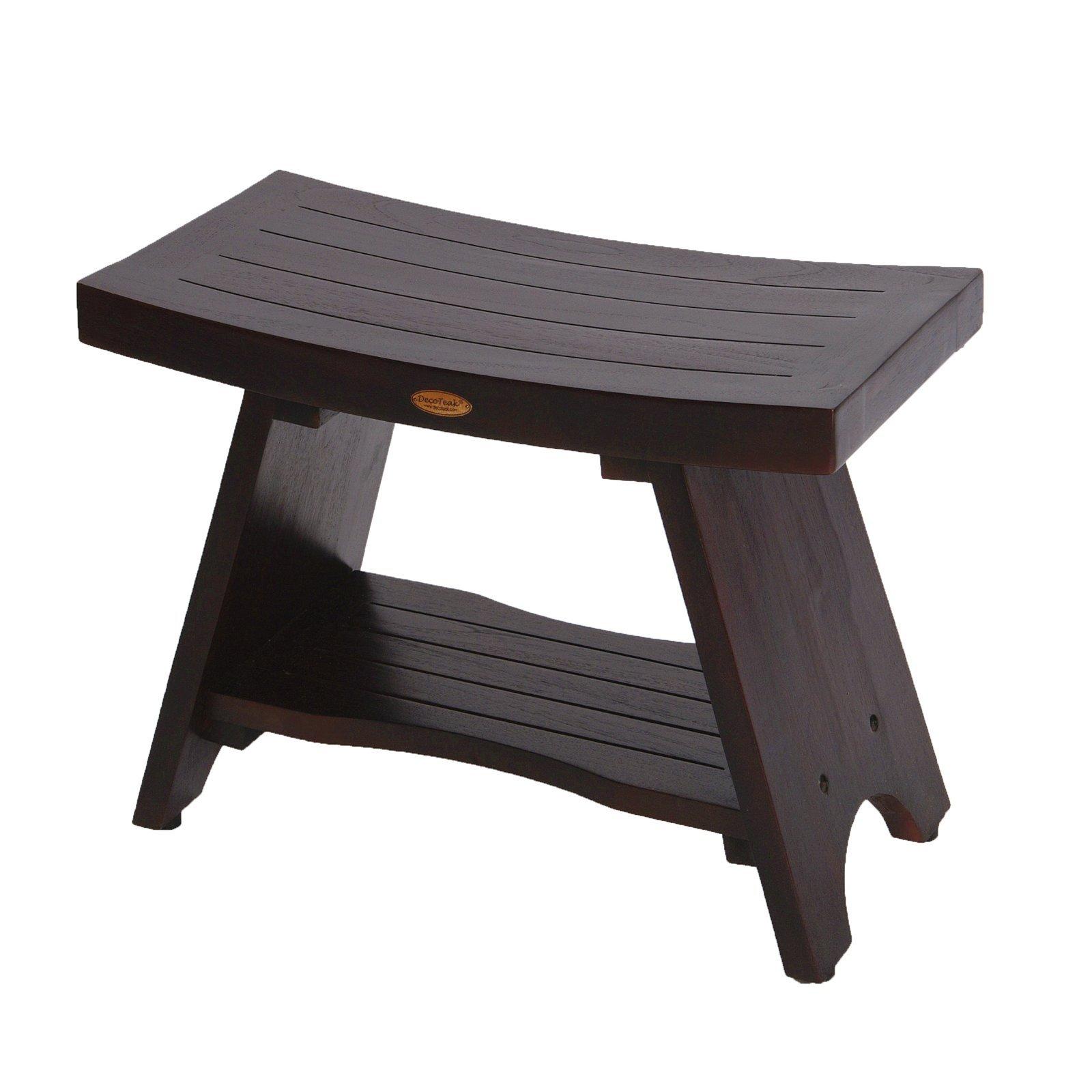 DecoTeak Serenity 24'' Eastern Style Teak Shower Bench With Shelf
