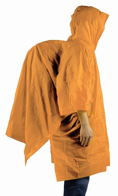 Leggera pioggia Poncho, Zaino con copertura, Rosso o Arancione, Orange AceCamp