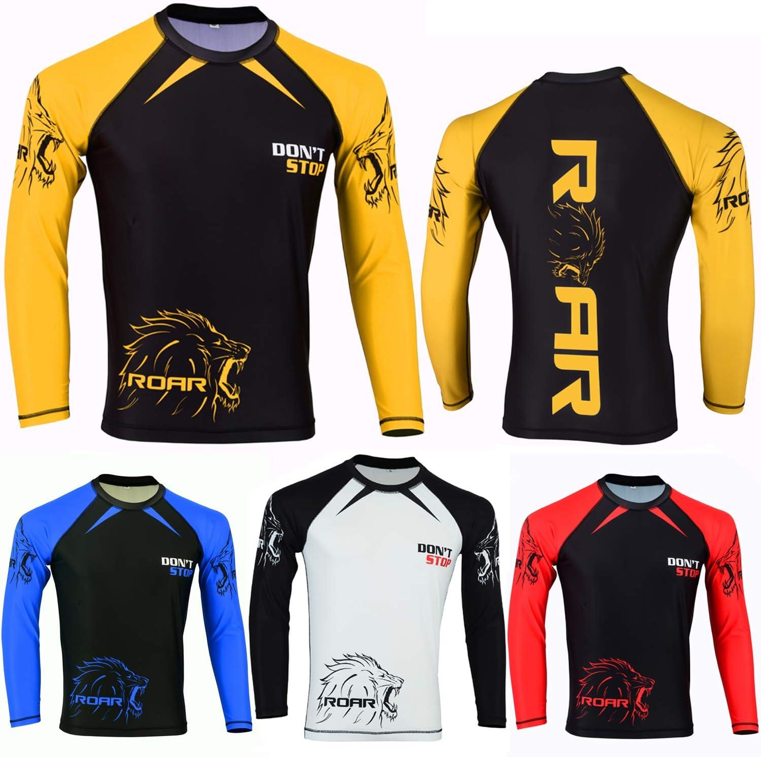 MMA Grappling Rash Guard UFC Boxing T-Shirt Sports Top Full//Long Sleeve S-M-L-XL