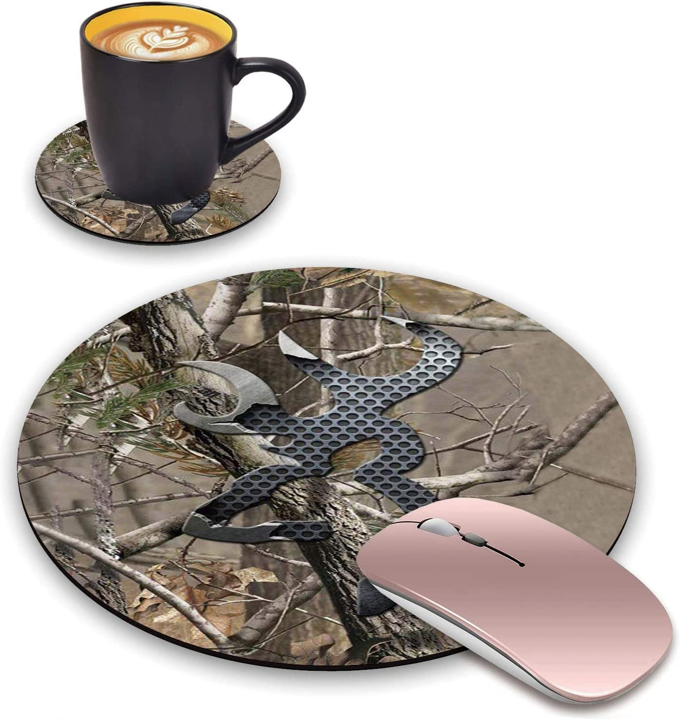 ChaTham Round Mouse Pad with Coasters Set, Jungle Camo Mouse Pad, Non-Slip Rubber Base Round Mouse Pads for Laptop Compute Working Home Office Accessories