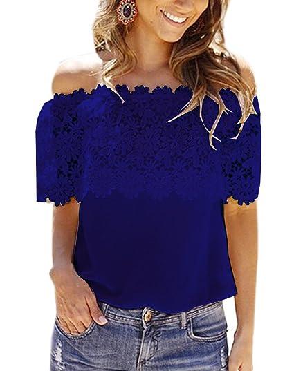 Freestyle Verano Mujer Blusa Cuello Barco Encaje Splicing Remata Camisetas Moda Colores Lisos Delgado Tops Camisa Blouses T-Shirts: Amazon.es: Ropa y ...