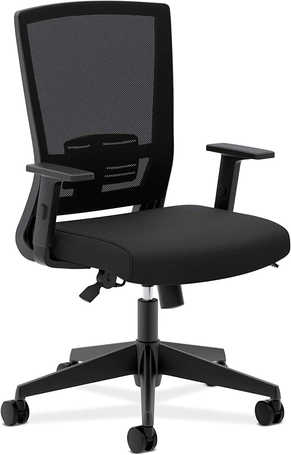 HON Entire Mesh Task Chair - High Back Work Chair with Adjustable Arms, Black (HVL541)