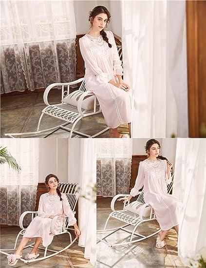 AIKOSHA Womens Victorian Style Full Flare Sleeve V-Back Lace Trim Loose Cotton  Nightdress  Amazon.co.uk  Clothing 11c3caed9