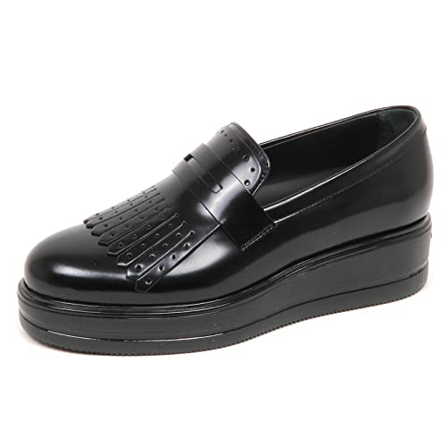 E4592 mocassino donna nero HOGAN H323 scarpe frangia shoe woman