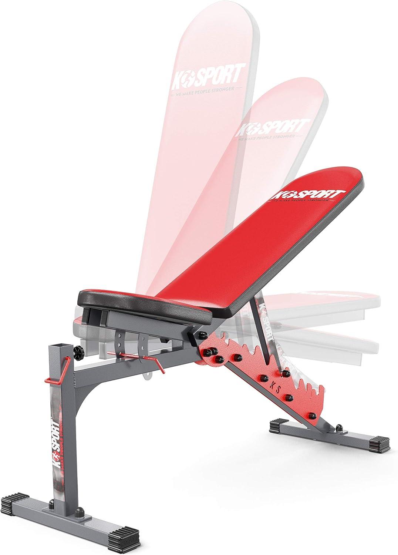 f/ür Fitnessstudio /& Heimtraining K-Sport Trainingsbank Hantelbank beidseitig verstellbar