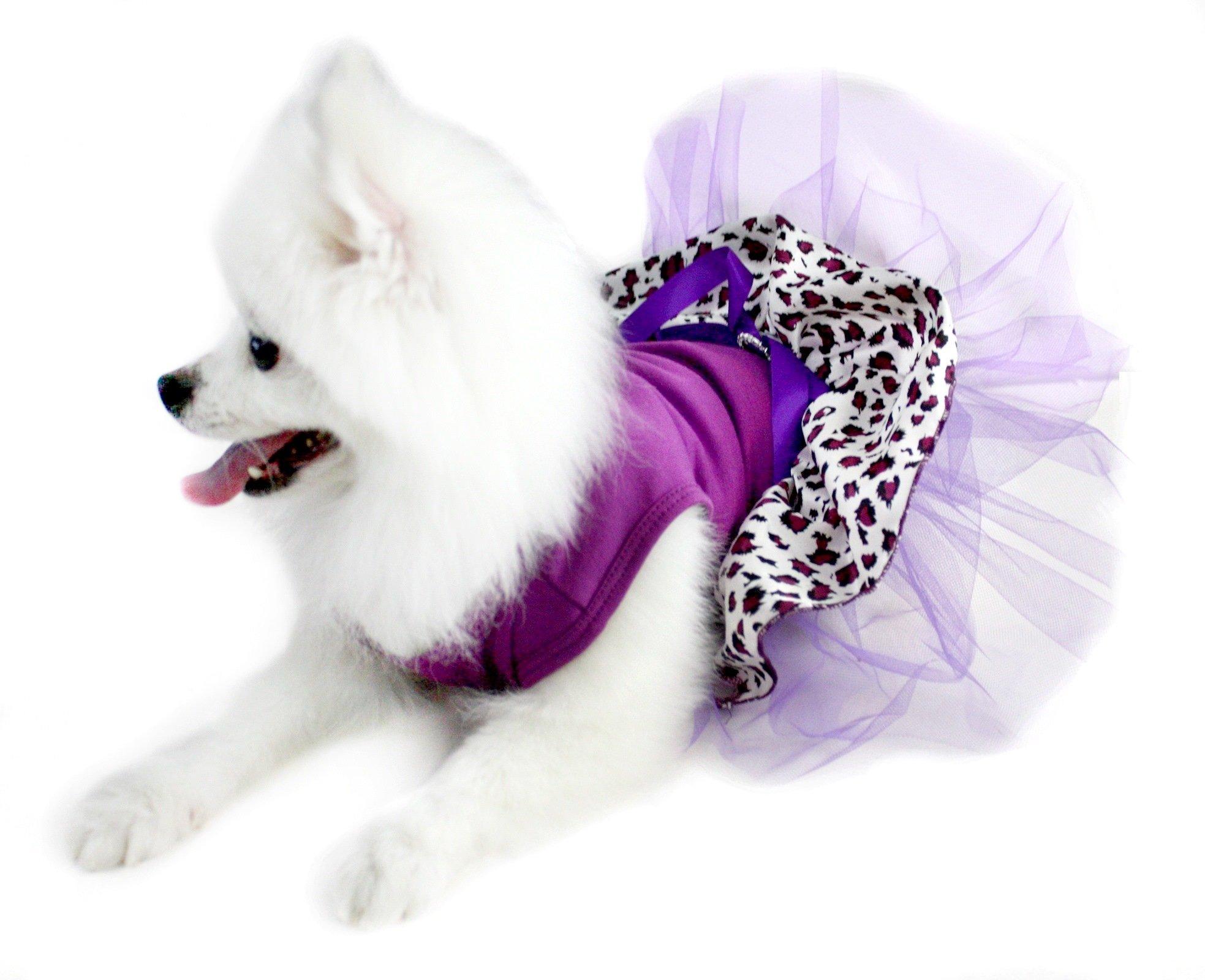 Puppy Clothes Dog Dress Grape Purple Cotton Top Leopard Tutu Animal Wear (Small)
