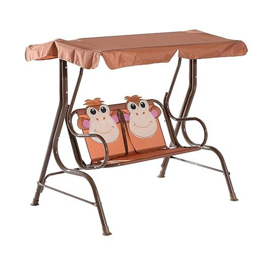 HOMCOM Kids 2 Seater Patio Monkey Print Swing Chair Metal Seat Children  Garden Hammock Bench Canopy