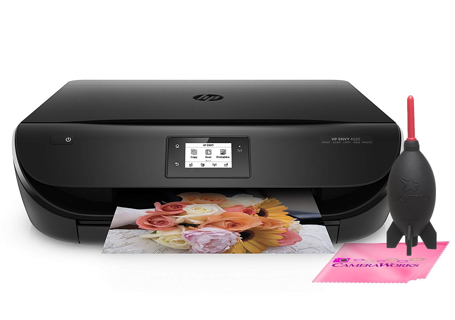 HP ENVY 4520 Wireless All-in-One Photo Printer with Mobile Printing, HP Instant Ink & Amazon Dash Replenishment ready (F0V69A) w/Complimentary Blower System & Microfiber Camera Works Cleaning Cloth