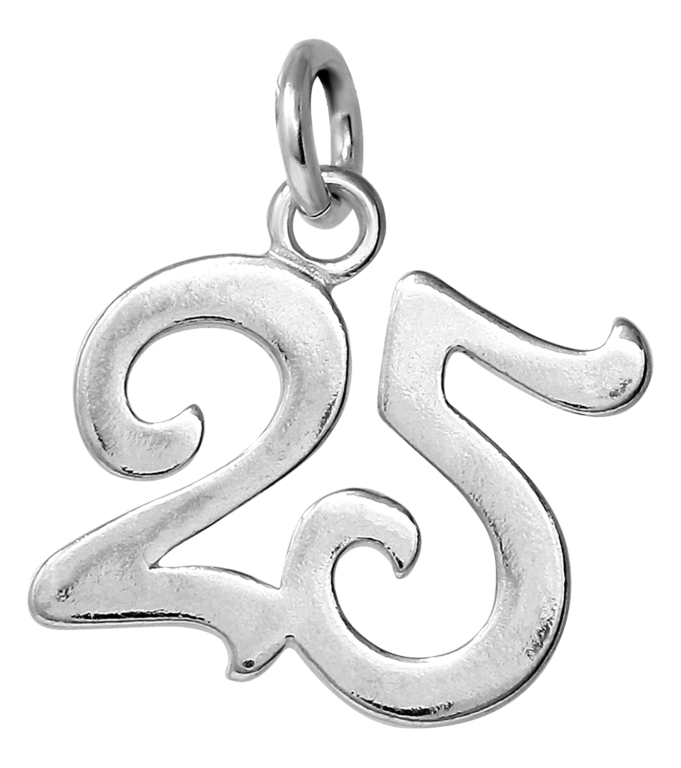Raposa Elegance Sterling Silver Number 25 Charm Approximately 17.5 mm x 16 mm