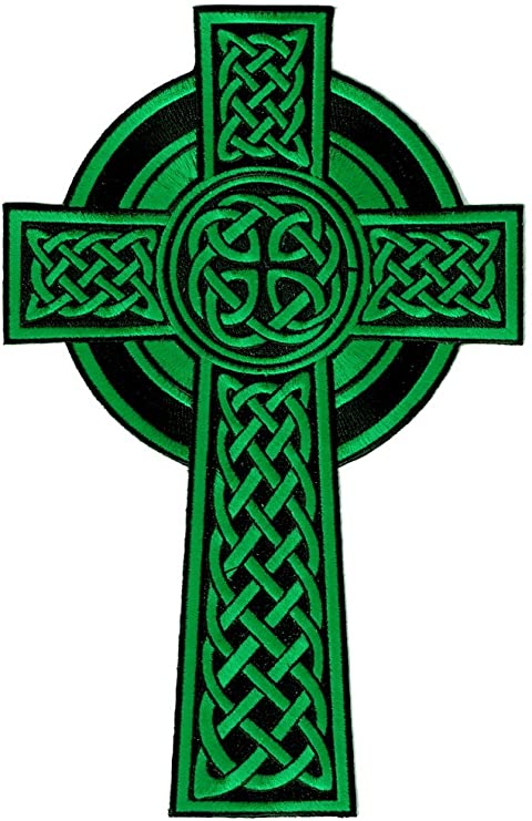 Amazon.com: Celtic Cross Large Iron-On Patch Green Embroidered Relgious  Gaelic Irish Crucifix: Home & Kitchen