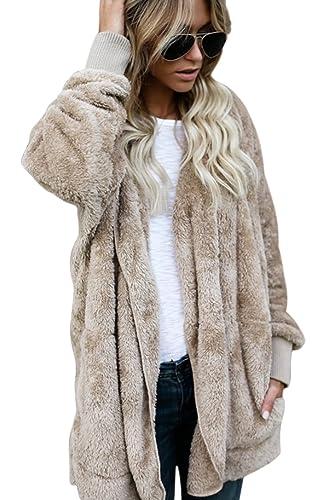 La Mujer Casual Faux Fur Cálida Frente Abierto Cardigan Abrigos Coat Top