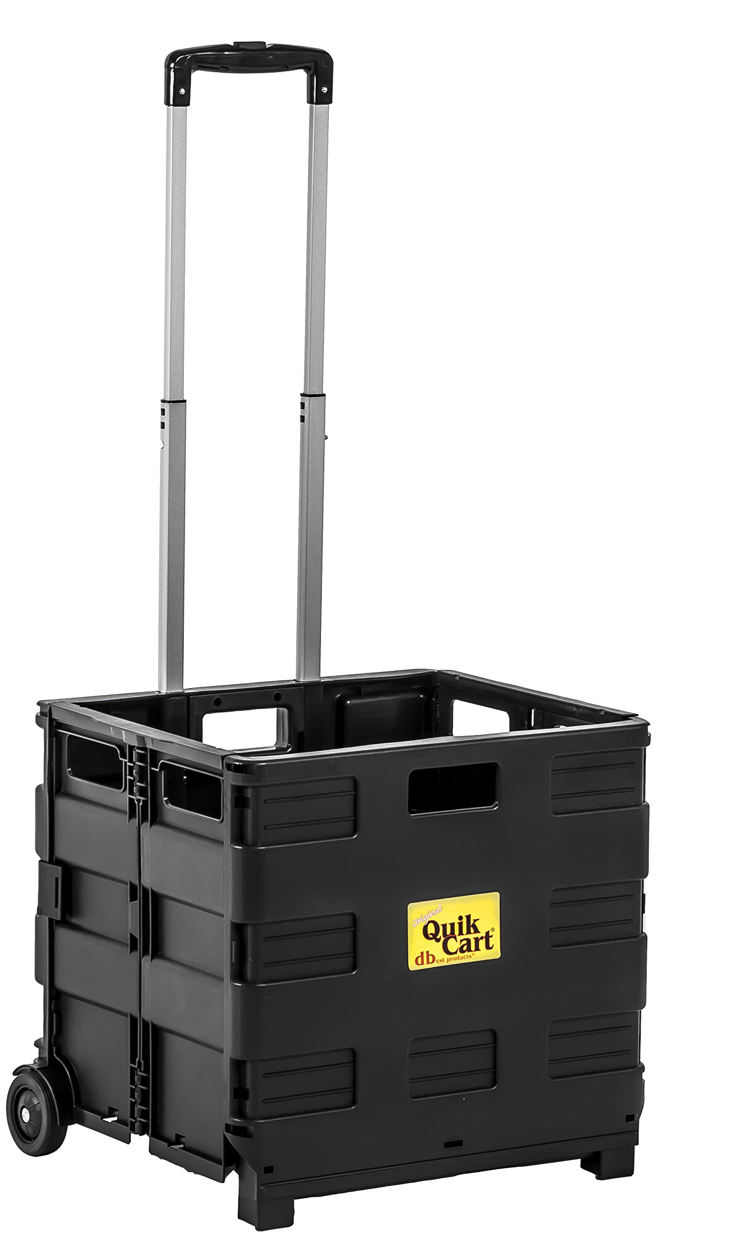 dbest products 01-768 Lightweight Shopping Laundry Travel Portable Mobile Storage Quik Topless Two-Wheeled Collapsible Handcart Rolling Utility Cart Heavy Duty, Without Lid, Black