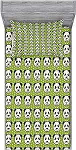 Ambesonne Panda Fitted Sheet & Pillow Sham Set, Cartoon Funny Hand Drawn Style Panda Bear Heads Animal Pattern Funny Furry Mammal, Decorative Printed 2 Piece Bedding Decor Set, Twin, Green