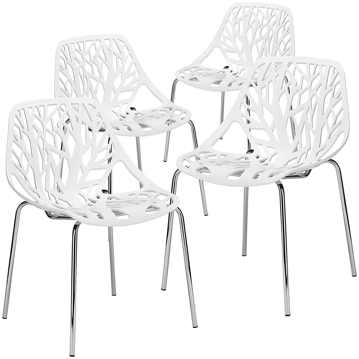 Poly and Bark Birds Nest Dining Side Chair in White Set of 4