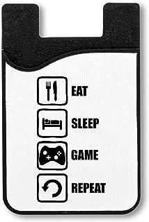 Eat Sleep Game Repeat Black Graphic Titulaire de la Carte de crédit pour Smartphone