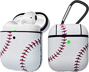 Tekcoo AirPods Case, [Front LED Visible] AirPods Accessories Cover Compatible with Apple Airpods 1 & AirPods 2 Protective PC Plastic Inner + PU Vegan Leather Pattern Skin & Keychain [Baseball]