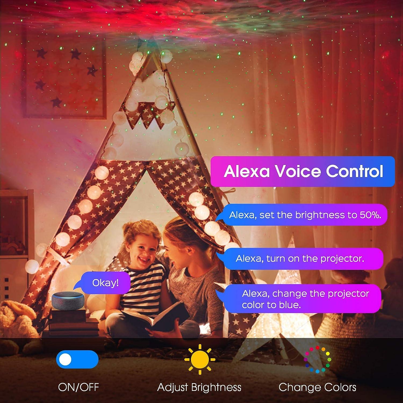 veilleuse pour f/ête denfants minuterie projecteur d/étoiles Alexa WiFi Galaxy Projecteur WiFi LED avec contr/ôle par app Google Home commande vocale Panacare Alexa Projecteur Ciel /Étoil/é