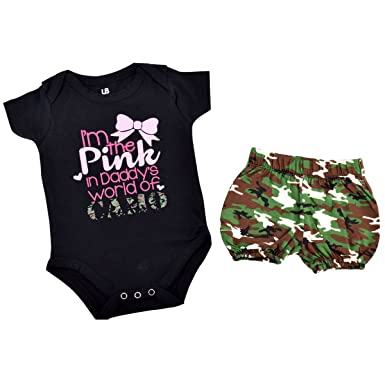 95f2359504d1 Unique Baby Girls I m The Pink in Daddy s Camo 1st Father s Day One Piece