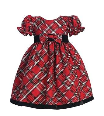 b6093d9a33f8 Amazon.com  lito Girls Plaid Holiday Dress with Velvet Trim (18 - 24 ...