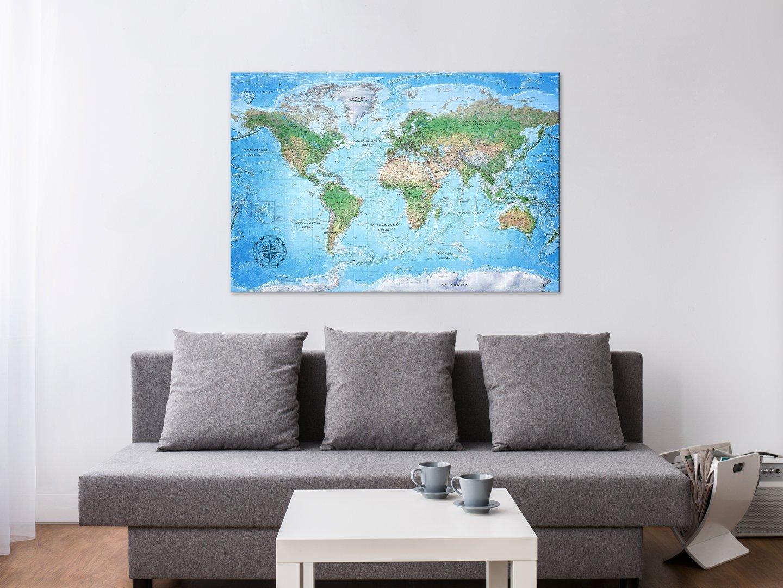 murando weltkarte pinnwand leinwand bild 120x80 cm 1 teilig wandbilder als korktafel. Black Bedroom Furniture Sets. Home Design Ideas
