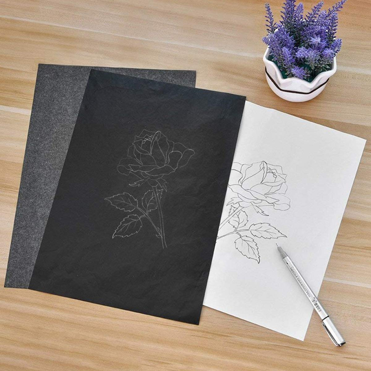Bleu STOBOK 100 pcs Carbone Copie Papier Transfert Papier Calque Graphite Papier Carbone Peinture Papier Couch/é