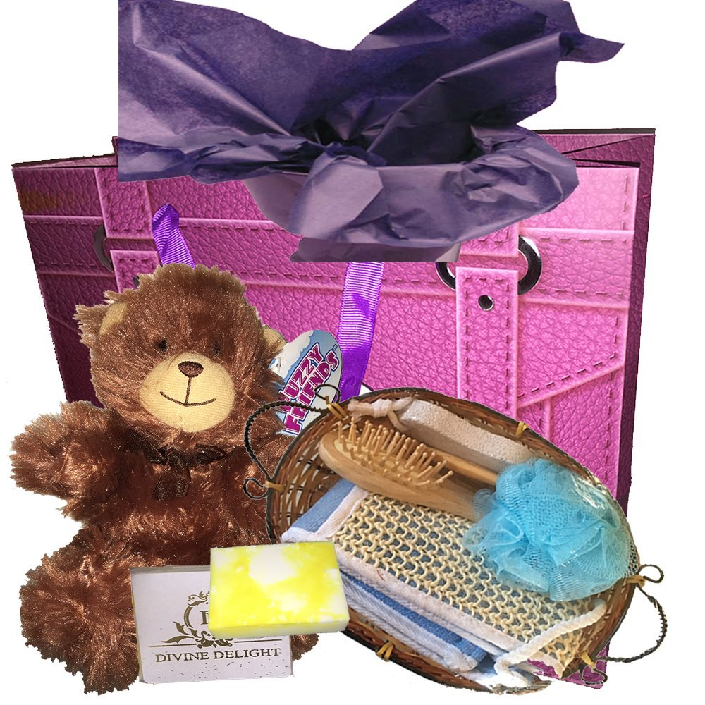 Ladies Spa bundle gift set - a sisal back scrubber, blue bath sponge, small wooden hairbrush, pumice stone and wooden roller massage tool, as well as an organic soap, gift bag and teddy bear