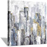 Abstract City Painting Wall Art: Gray Cityscape Artwork Hand Painted Canvas Picture for Office