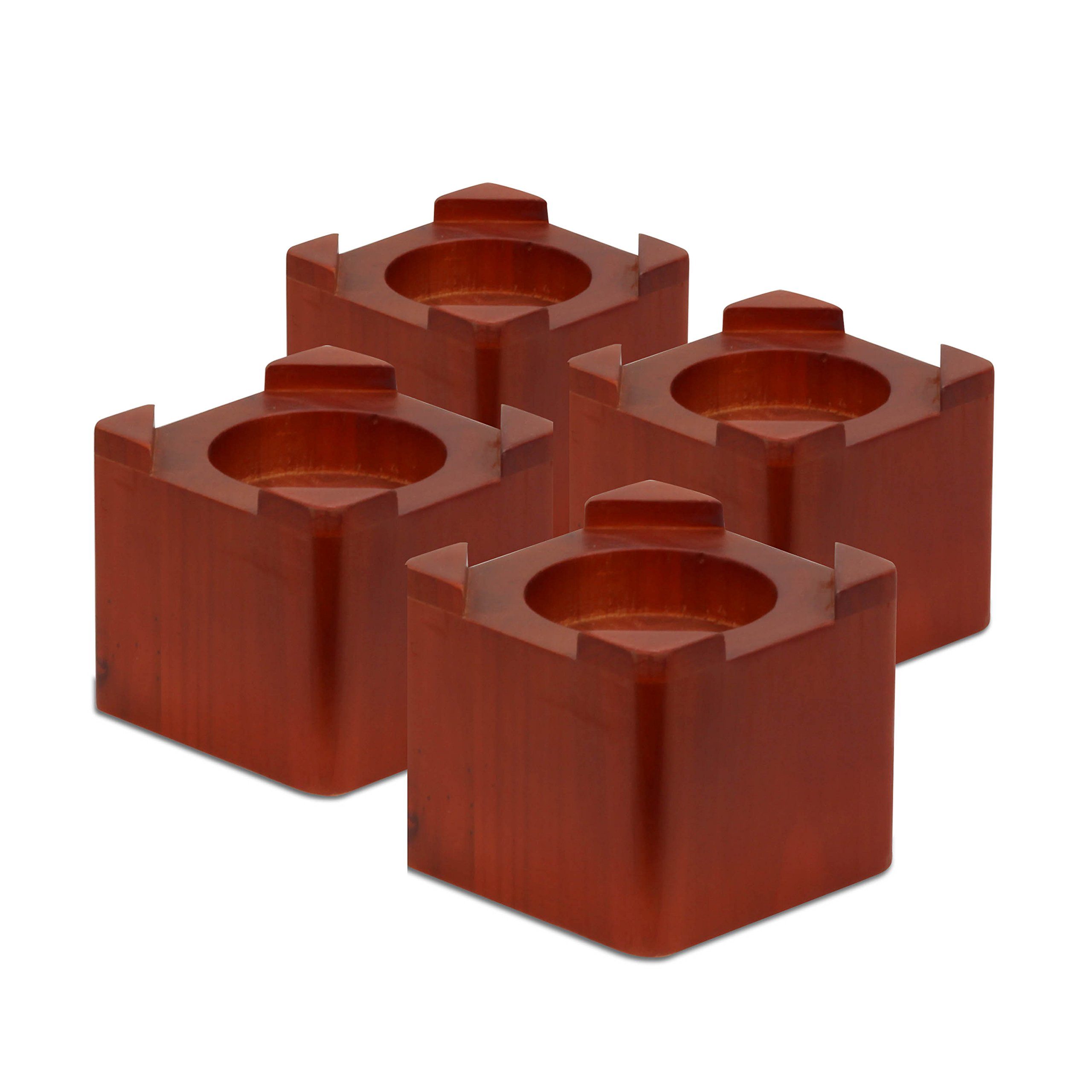 Honey-Can-Do STO-01151 Wood Bed Lifts, Cherry Finish, 4-Pack