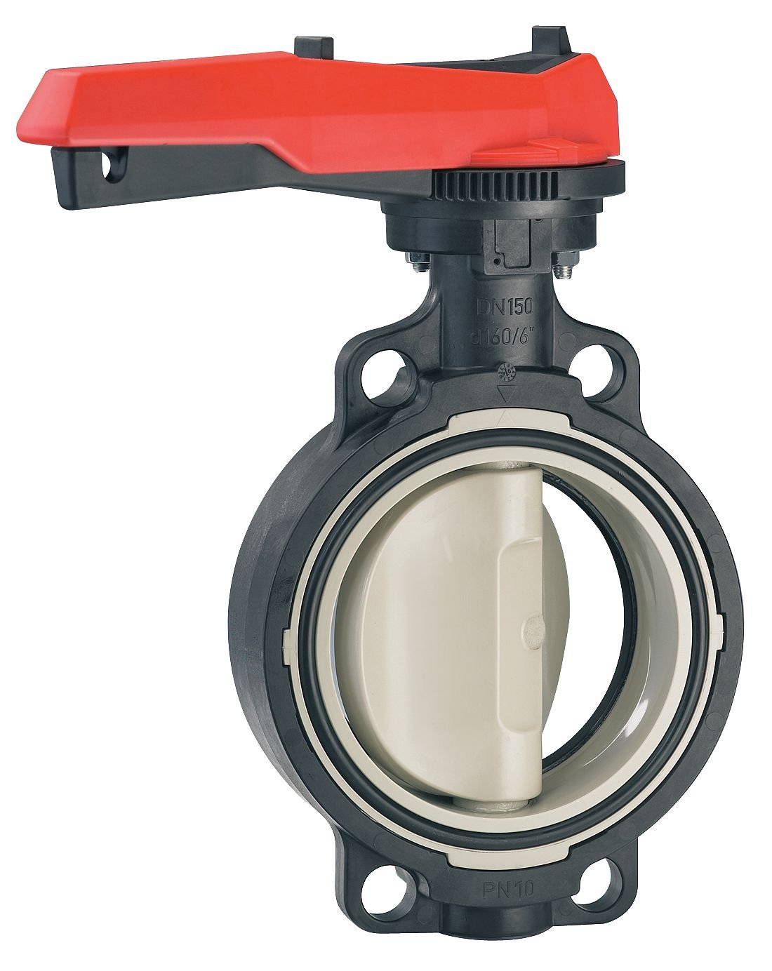 150 psi 167567022 GF Piping Systems 2 Pipe Size Wafer-Style Butterfly Valve Polypropylene