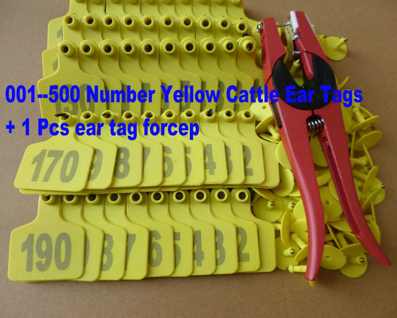 FidgetFidget forcep 001-500 Number Yellow Cattle Ear Tags + Ear tag