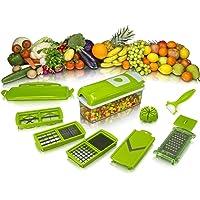 HOLME'S SHOP Steel Vegetable and Fruit Chipser/Chopper/Slicer/Grater Cutter Machine with 12 Blades, 1 Peeler Inside (Random Colour)