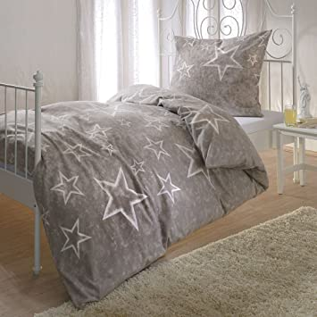 G Bettwarenshop Biber Bettwäsche Sterne Taupe 1 Bettbezug 155 X 200