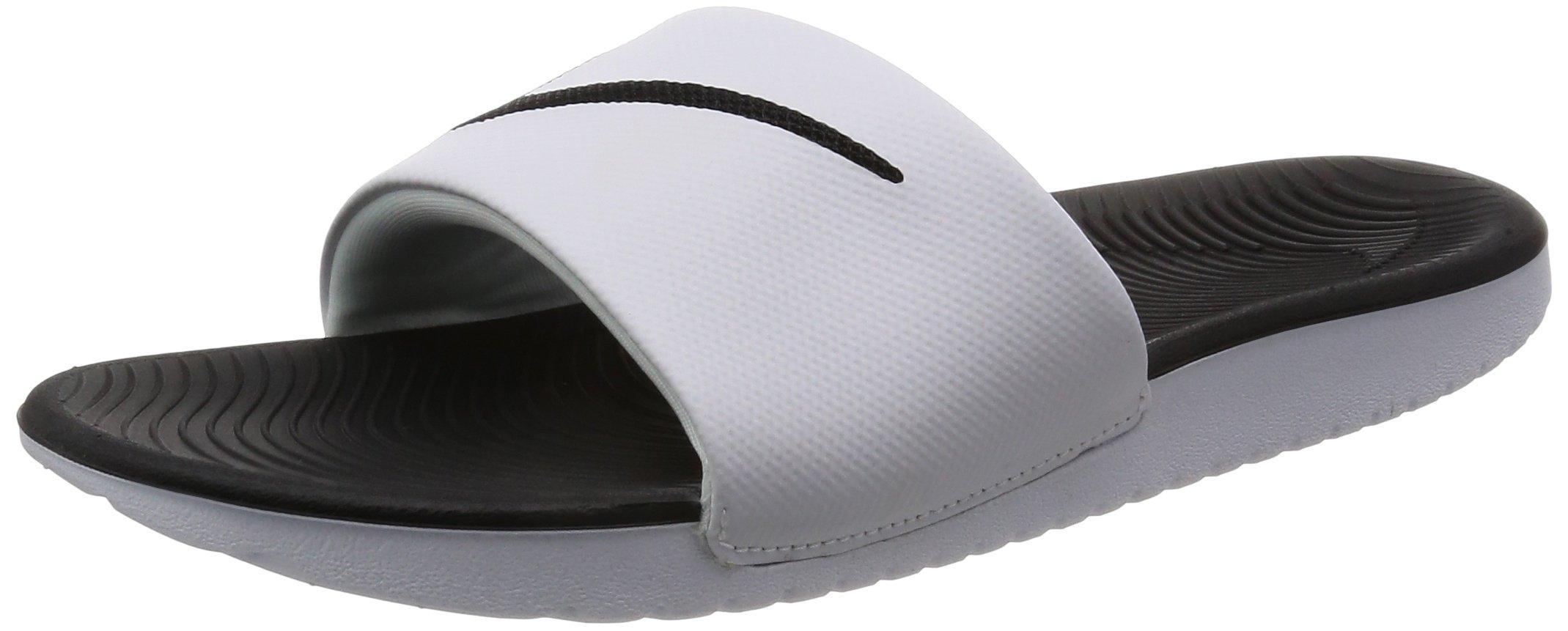 NIKE Boy's Kawa (GS/PS) Sandal, White/Black, 13 M US Little Kid