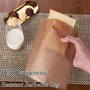 """Microwave Oven Bag,Reusable Non-Stick Grilled Toast Bag High Temperature Grilled Barbecue Bag,Best Quality Parchment Bags for Cooking/Parchment Gourmet Cooking Bag,10 Bags Per Pack (A: 6.3"""" x 6.5"""")"""
