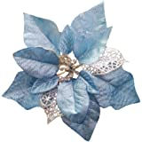 Crazy Night (Pack of 12) Glitter Poinsettia Christmas Tree Ornaments (Blue)
