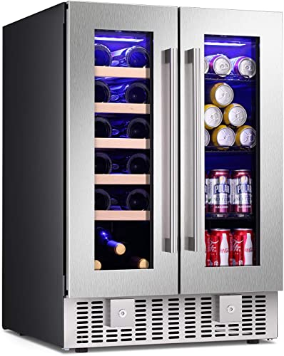 Antarctic Star 24 Inch Beverage Refrigerator Buit-in Wine Cooler Dual Zone 2-Door Mini Fridge Digital Memory Temperature Control