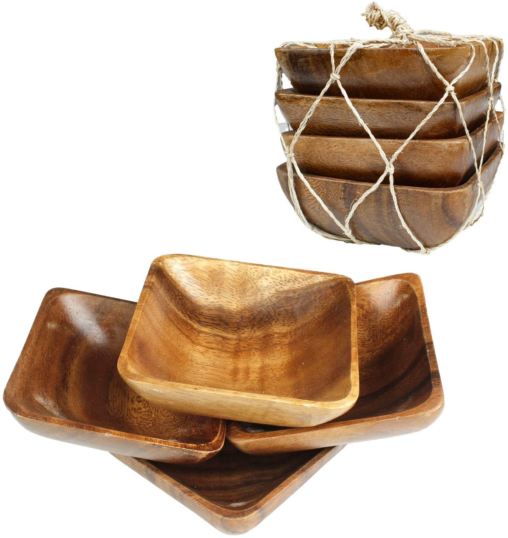 Acacia Handmade Wood Carved Plates - Set of 4 Calabash Bowls Size 4