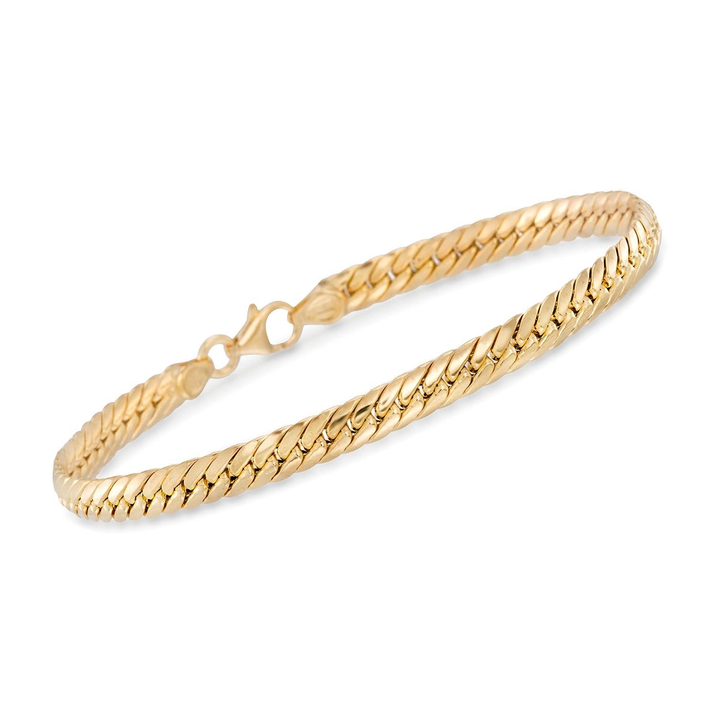 4993c08e3ce705 Amazon.com: Ross-Simons Certified Italian 14kt Yellow Gold Cuban-Link  Bracelet: Jewelry