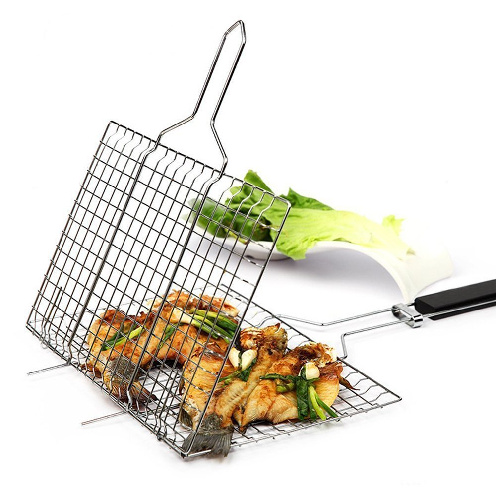MaoGoLan Fish Grill Basket BBQ Grids Portable Non-stick Strong Iron BBQ Grill Clip Net Grilling Vegetables Basket Pan Useful BBQ Tools with Heat-resistant Handle