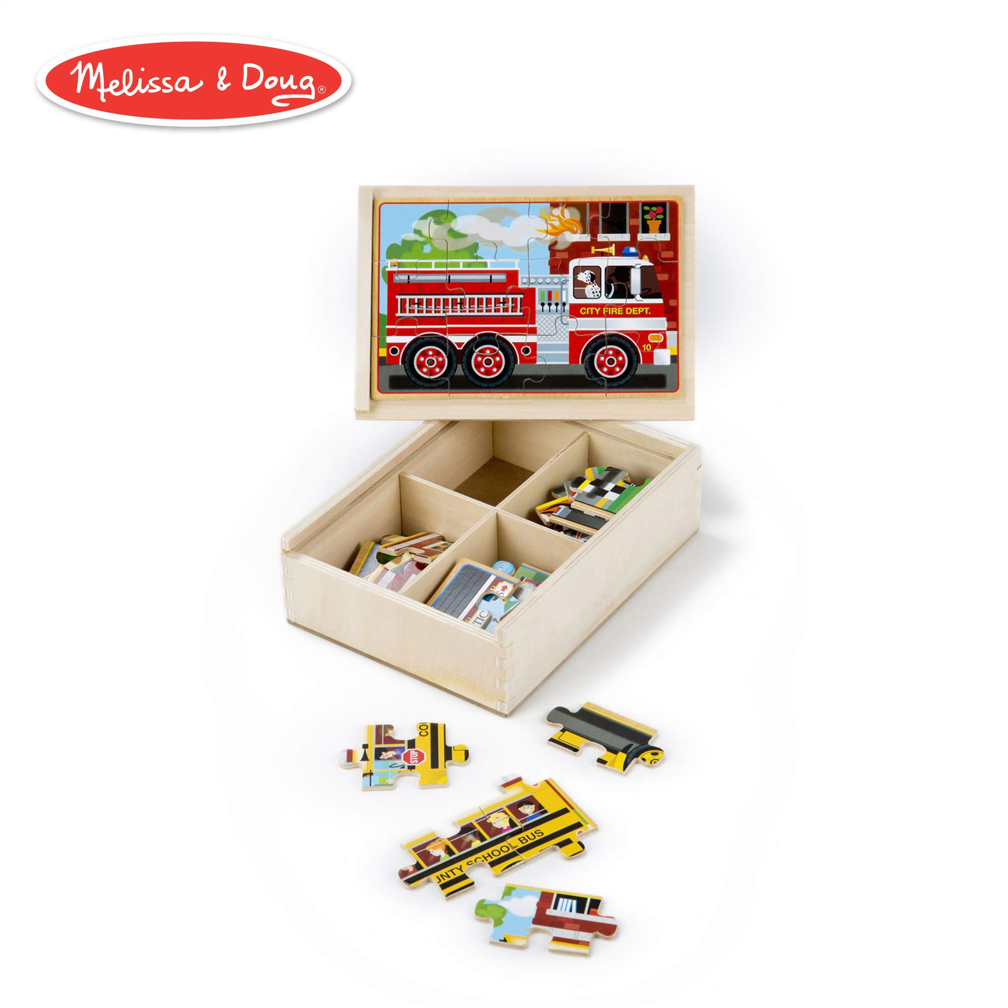 Melissa & Doug Vehicles Jigsaw Puzzles in a Box (Four Wooden Puzzles, Sturdy Wooden Storage Box, 12-Piece Puzzles, 8'' H x 6'' W x 2.5'' L) by Melissa & Doug