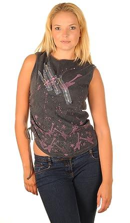 5121080e1dabf7 Topshop Grey   Pink   Glitter Guitar   Star Print Three Zip Design Vest Top