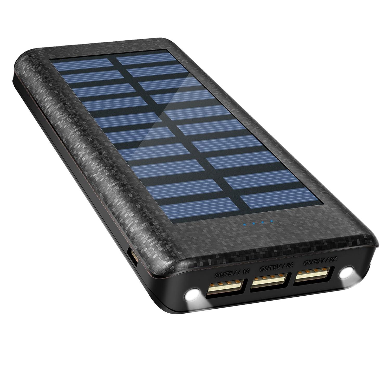 Batería Externa Power Bank 24000mAh , Cargador Solar de OLEBR con puerto de alta velocidad, 2 LED ligeros, 3 puertos de carga USB de alta velocidad ...