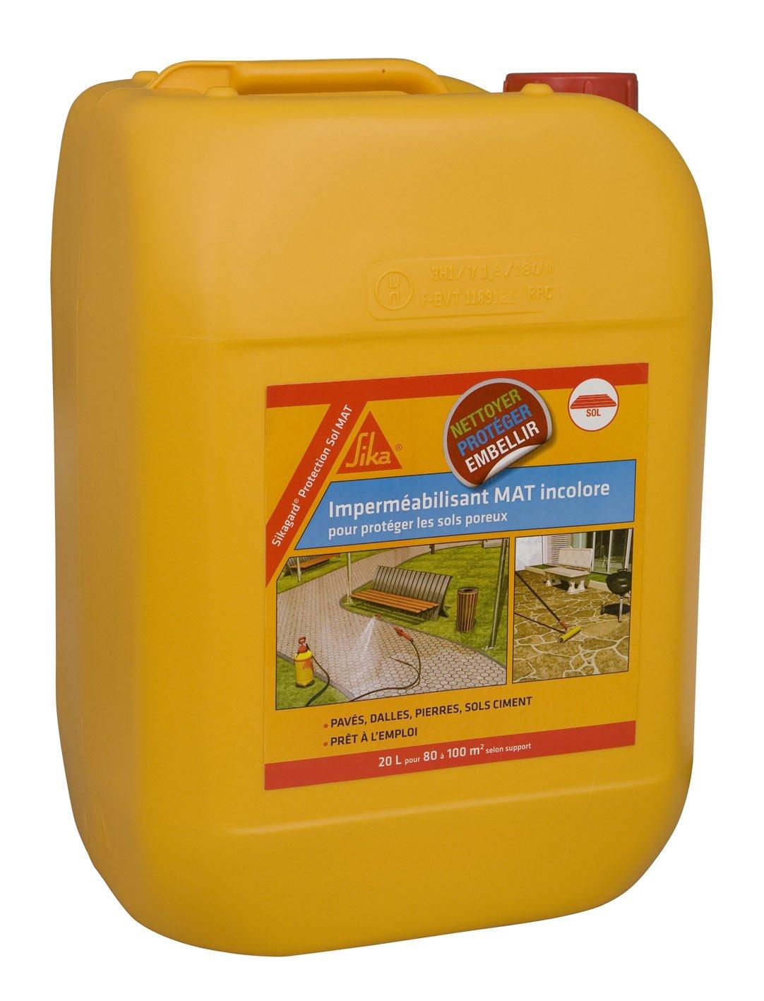 Sikargard Protection Sol MAT - Impermé abilisant effet mat pour sols (Pavé s, dalles, pierres) - 20L / 100m2 - incolore SIKA FRANCE S.A.S 460503