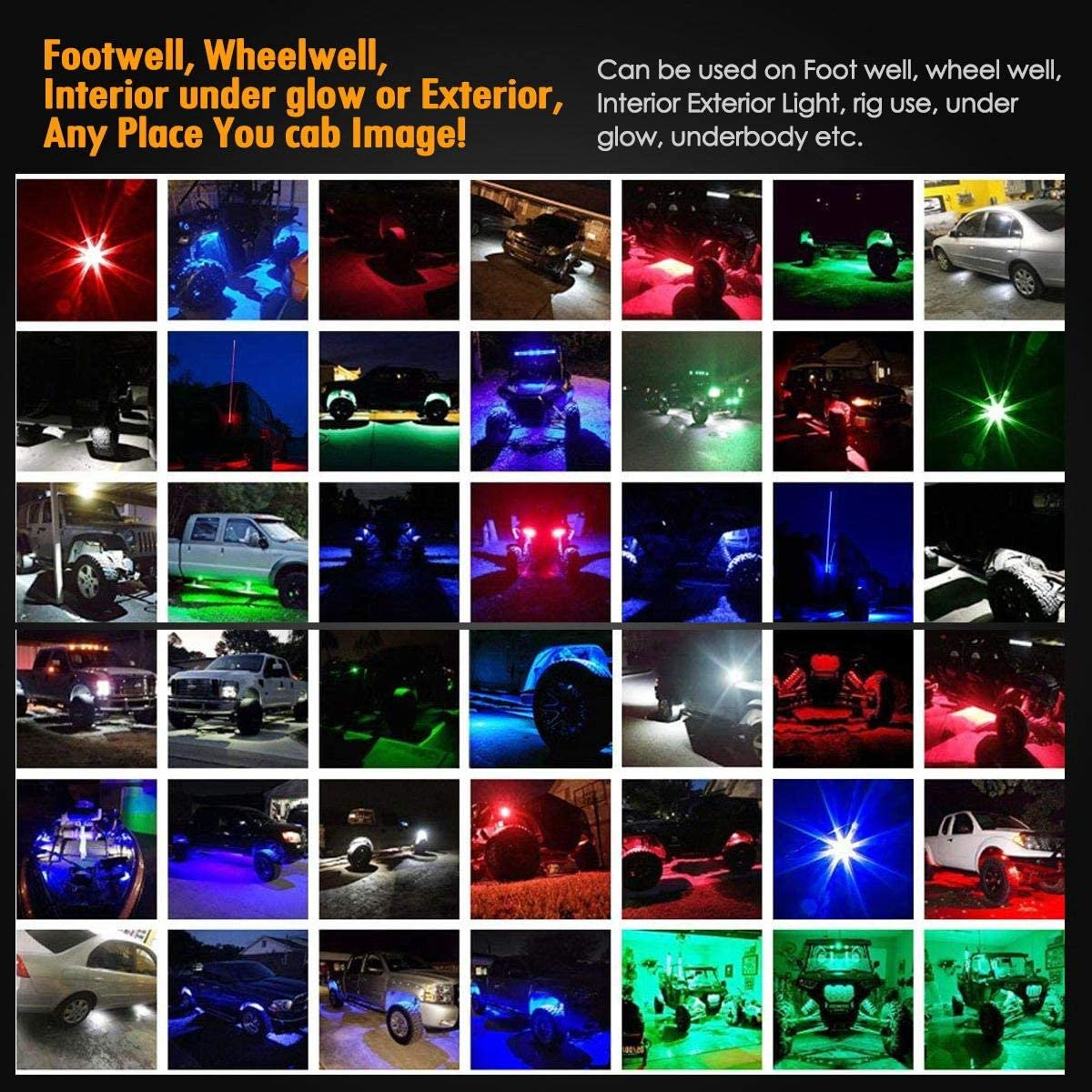 Green 8PCS Partsam 8 Pods LED Rock Light Kits Compatible with Jeep TJ JK F150 F250 Truck Boat Lamp Camper RV ATV UTV RZR Ranger Yamaha Viking Teryx Mule Under Body Glow Footwell Fender Wheeler