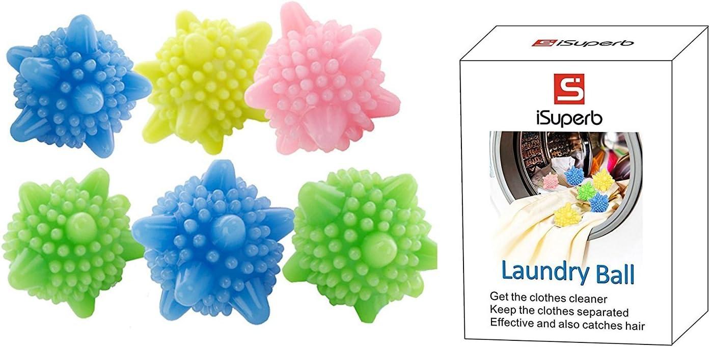 iSuperb Lavado de pelotas para lavar la ropa Lavadora de ropa sin contaminacion pelota de lavandería pack of 6