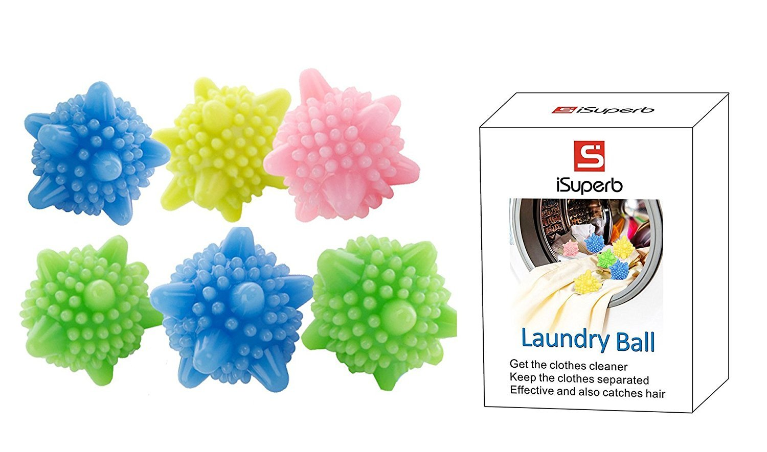iSuperb Solid Colorful Laundry Ball Washing Ball, Set of 6 (type 2)