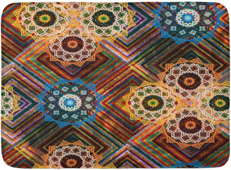 Alfombra de baño Mandala Acuarela, Alfombra de baño Alfombra étnica creativa con cuadros multicolores y Alfombra de cama Acuarela Alfombra de baño Alfombras de baño absorbentes Meterial antideslizante