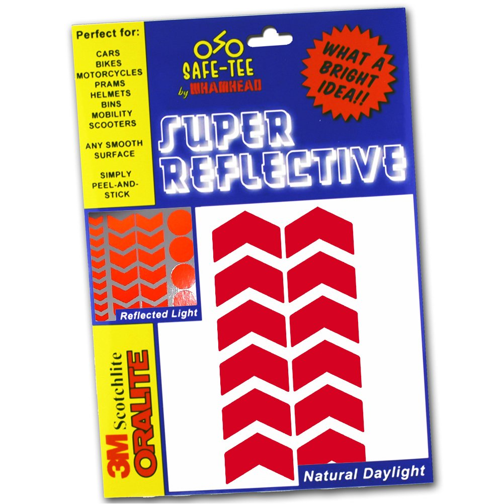 Red Reflective Arrows Pack Chevron Silver White Stickers Motorbike Car Bicycle