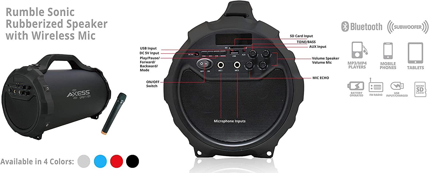 FM Radio Portable Bluetooth Indoor//Outdoor Speaker with Built in 6 Subwoofer 2 Mic Inputs USB and SD Disc Inputs