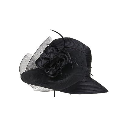 Prefe Ladys Kentucky Derby Dress Church Cloche Hat Bow Bucket Wedding  Bowler Hats One Size ) 08814e0761a9